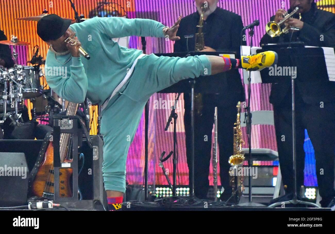 NEW YORK, NEW YORK - 21. AUGUST: LL Cool J spielt auf der Bühne während We Love NYC: The Homecoming Concert, produziert von NYC, Clive Davis und Live Nation am 21. August 2021 in New York City. (Foto von John Atashian) Stockfoto
