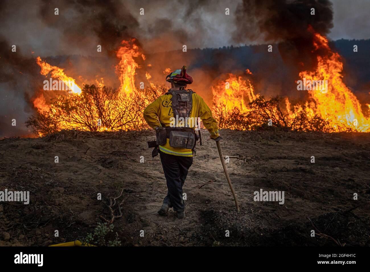 Caldor, Usa. August 2021. Das kalifornische Caldor-Feuer bewegt sich nach Osten in Richtung Lake Tahoe, während die Besatzungen weiterhin gegen ein Feuer kämpfen, das auf mehr als 170 Quadratmeilen mit nur 5 % Eindämmung angewachsen ist. (Foto: Michael Nigro/Pacific Press) Quelle: Pacific Press Media Production Corp./Alamy Live News Stockfoto