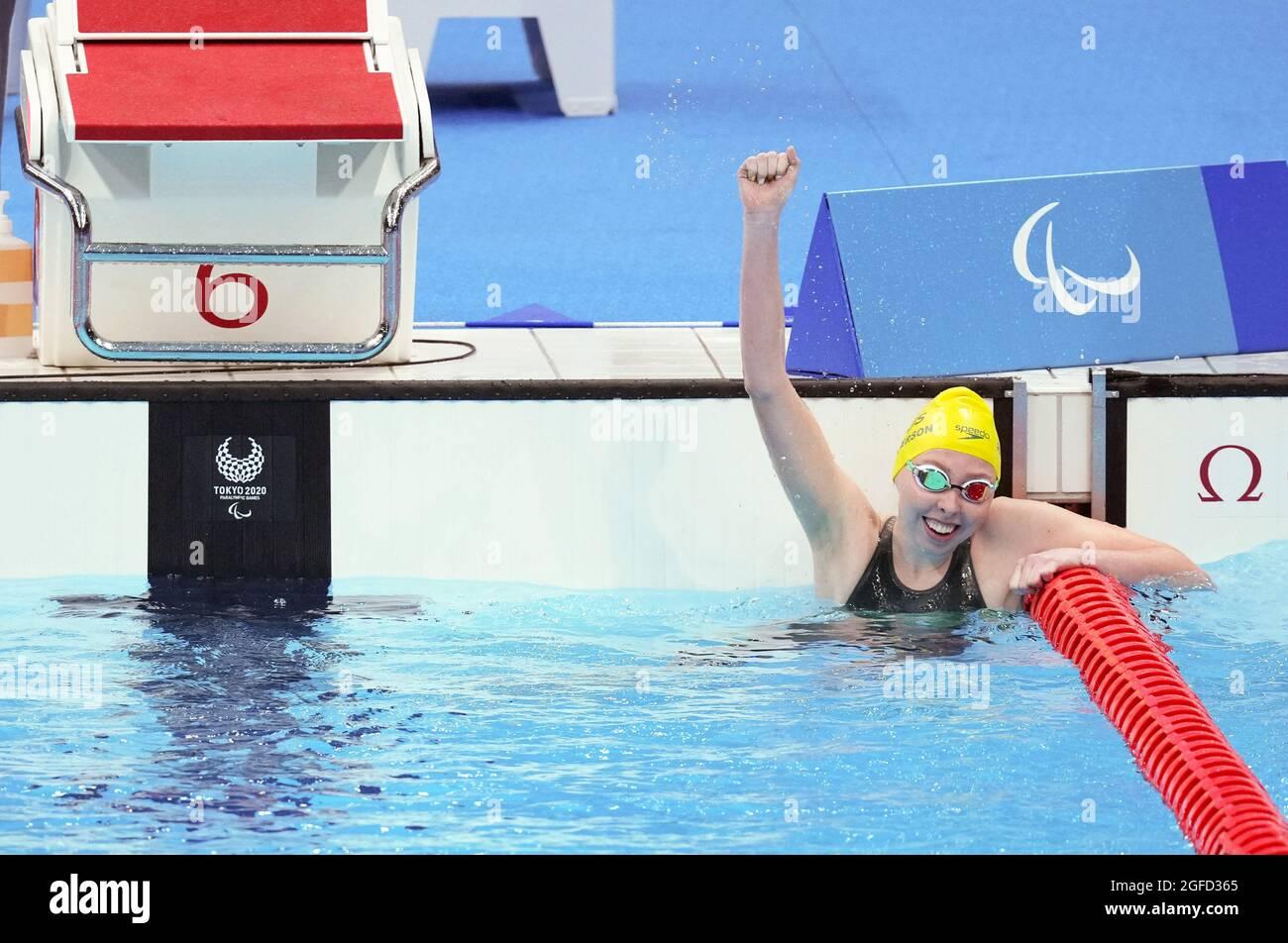 Tokio, Japan. August 2021. Patterson Lakeisha aus Australien feiert nach dem 400-m-Freistil-S9-Finale der Frau beim Schwimmen bei den Paralympischen Spielen 2020 in Tokio, Japan, am 25. August 2021. Quelle: Cai Yang/Xinhua/Alamy Live News Stockfoto
