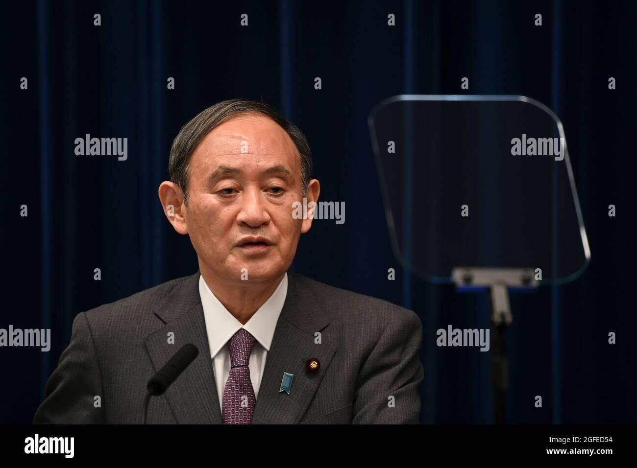 Tokio, Japan. August 2021. Japans Premierminister Yoshihihide Suga spricht während einer Pressekonferenz im Büro des Premierministers in Tokio. (Bild: © POOL via ZUMA Press Wire) Bild: ZUMA Press, Inc./Alamy Live News Stockfoto