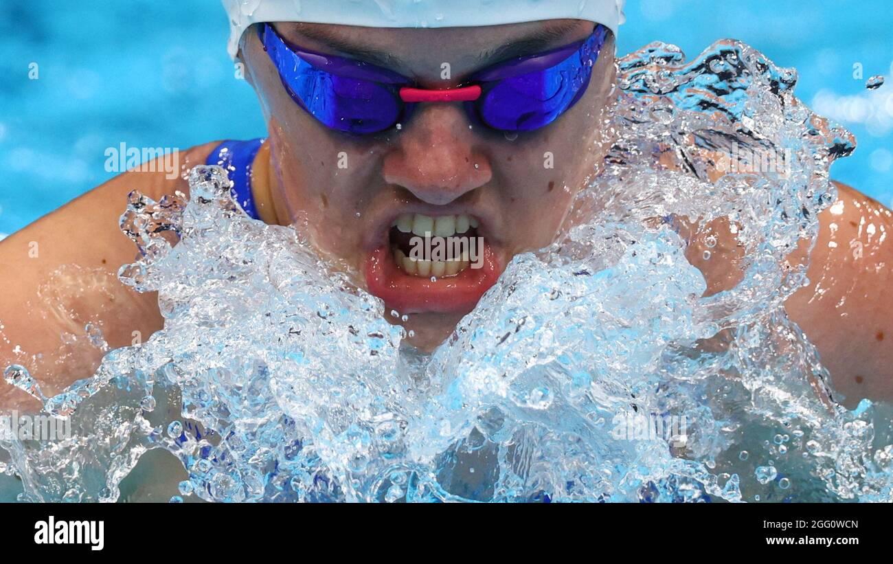 Tokio 2020 Paralympische Spiele - Schwimmen - 100 m Brusthub der Frauen - SB6 Heat 1 – Tokyo Aquatics Center, Tokio, Japan - 28. August 2021. Nicole Turner aus Irland im Einsatz REUTERS/Marko Djurica Stockfoto