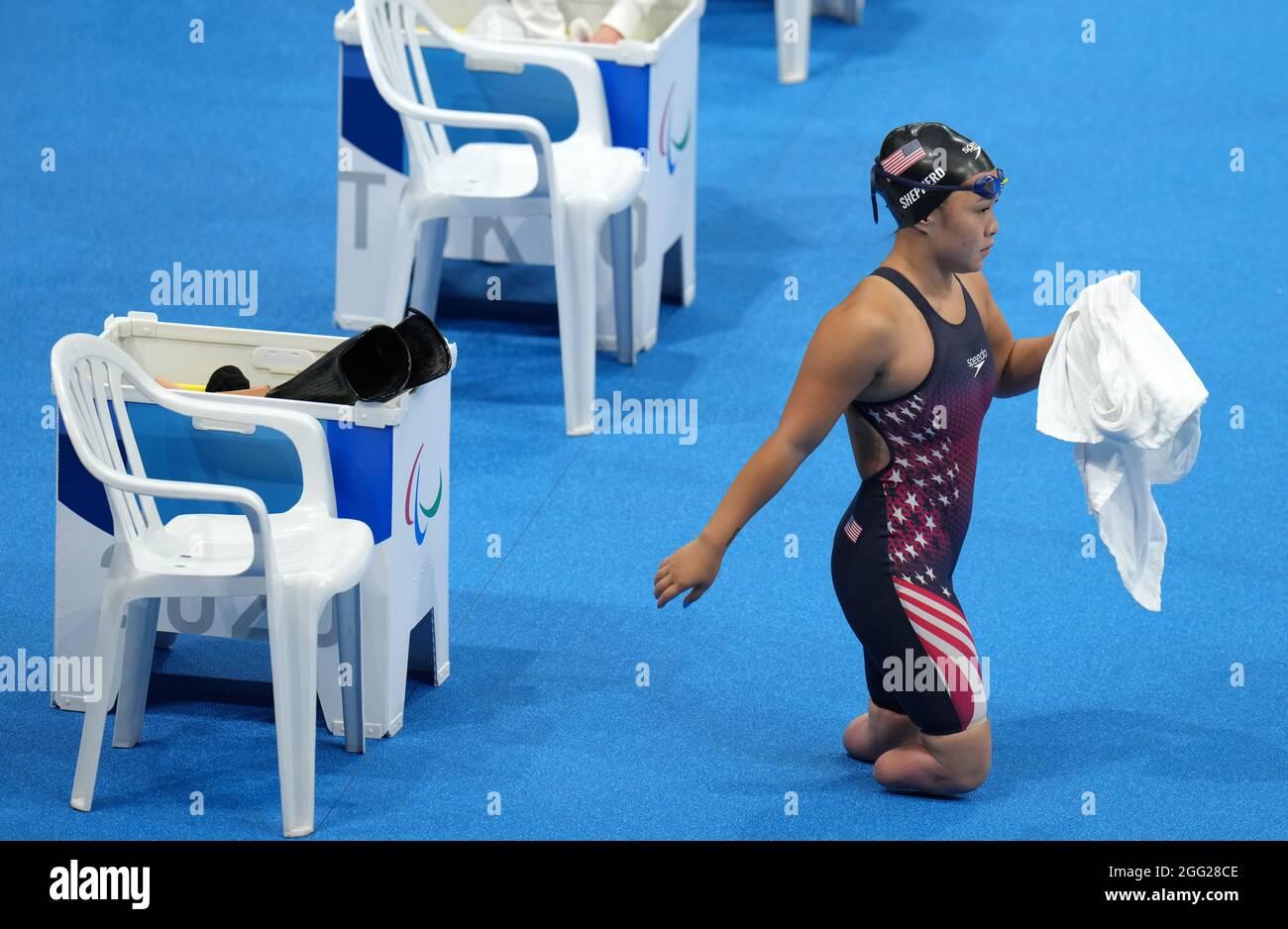 Haven Shepherd der USA vor dem Medley-SM8-Finale der Frauen im Tokyo Aquatics Center am vierten Tag der Paralympischen Spiele in Tokio 2020 in Japan. Bilddatum: Samstag, 28. August 2021. Stockfoto
