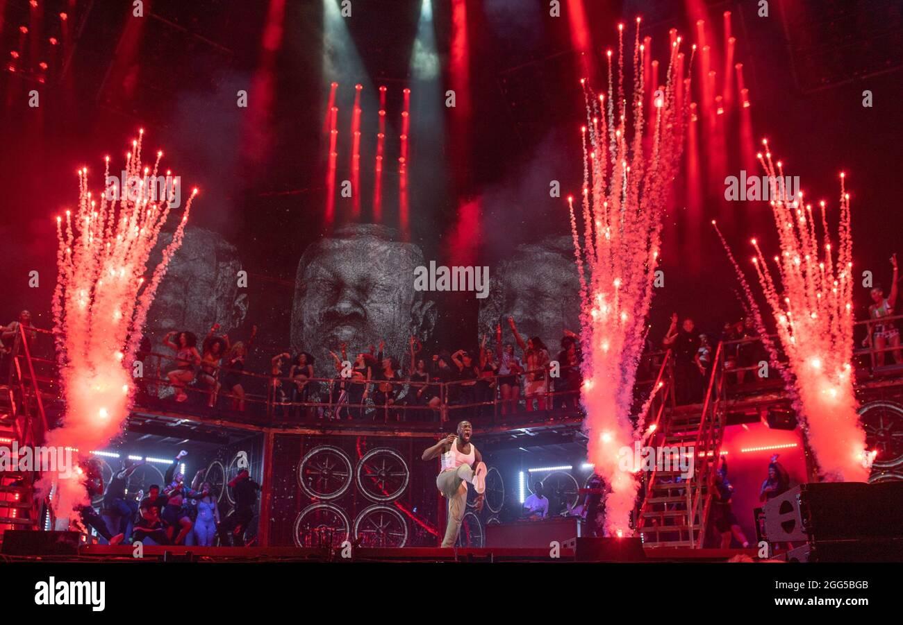 Leeds, Großbritannien. August 2021. Im Bild Stormzy beim Leeds Festival. Quelle: Katja Ogrin/Alamy Live News Stockfoto