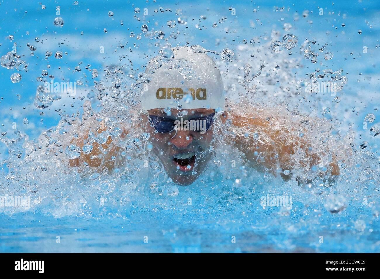 Paralympische Spiele 2020 in Tokio - Schwimmen - 100 m Schmetterling der Männer - S12-Finale - Tokyo Aquatics Center, Tokio, Japan - 3. September 2021. Raman Salei aus Aserbaidschan im Einsatz REUTERS/Kim Kyung-Hoon Stockfoto