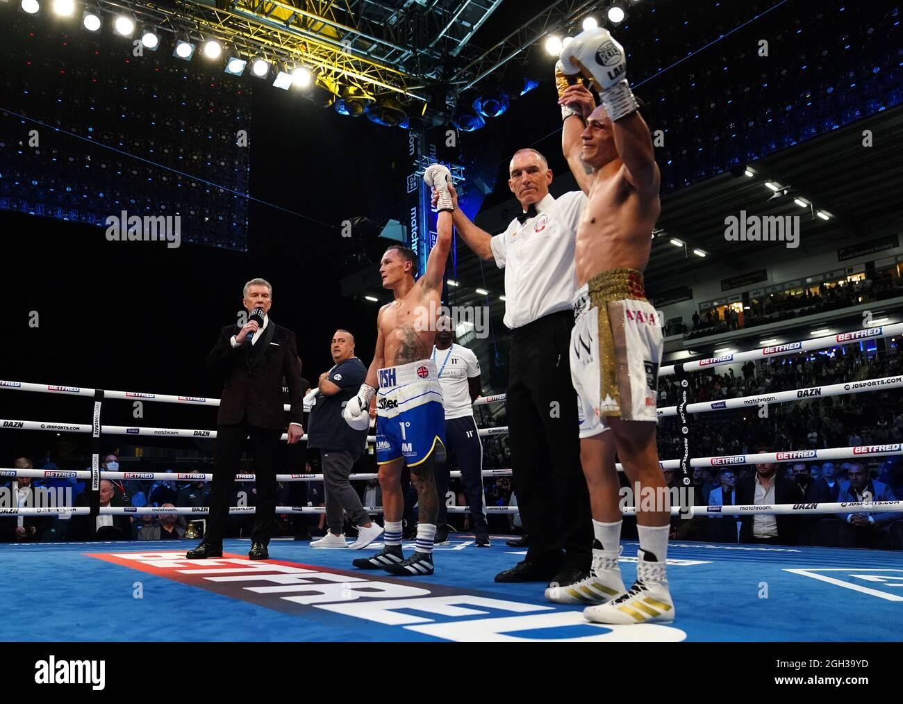 Josh Warrington (links) und Mauricio Lara, nachdem ihr internationaler Federgewichtswettbewerb während des Boxevents im Emerald Headingley Stadium, Leeds, in einer Unentschieden endete. Bilddatum: Samstag, 4. September 2021. Stockfoto
