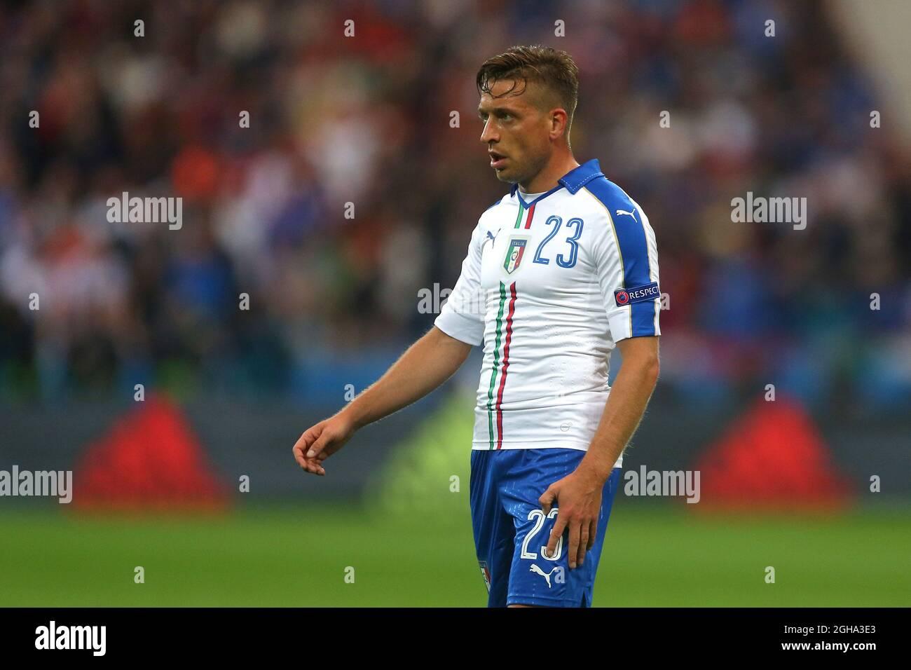 Emanuele Giaccherini aus Italien während des Spiels der  UEFA-Europameisterschaft 2016 im Stade de Lyon, Lyon. Bilddatum 13. Juni  2016 Pic Phil Oldham/Sportimage via PA Images Stockfotografie - Alamy