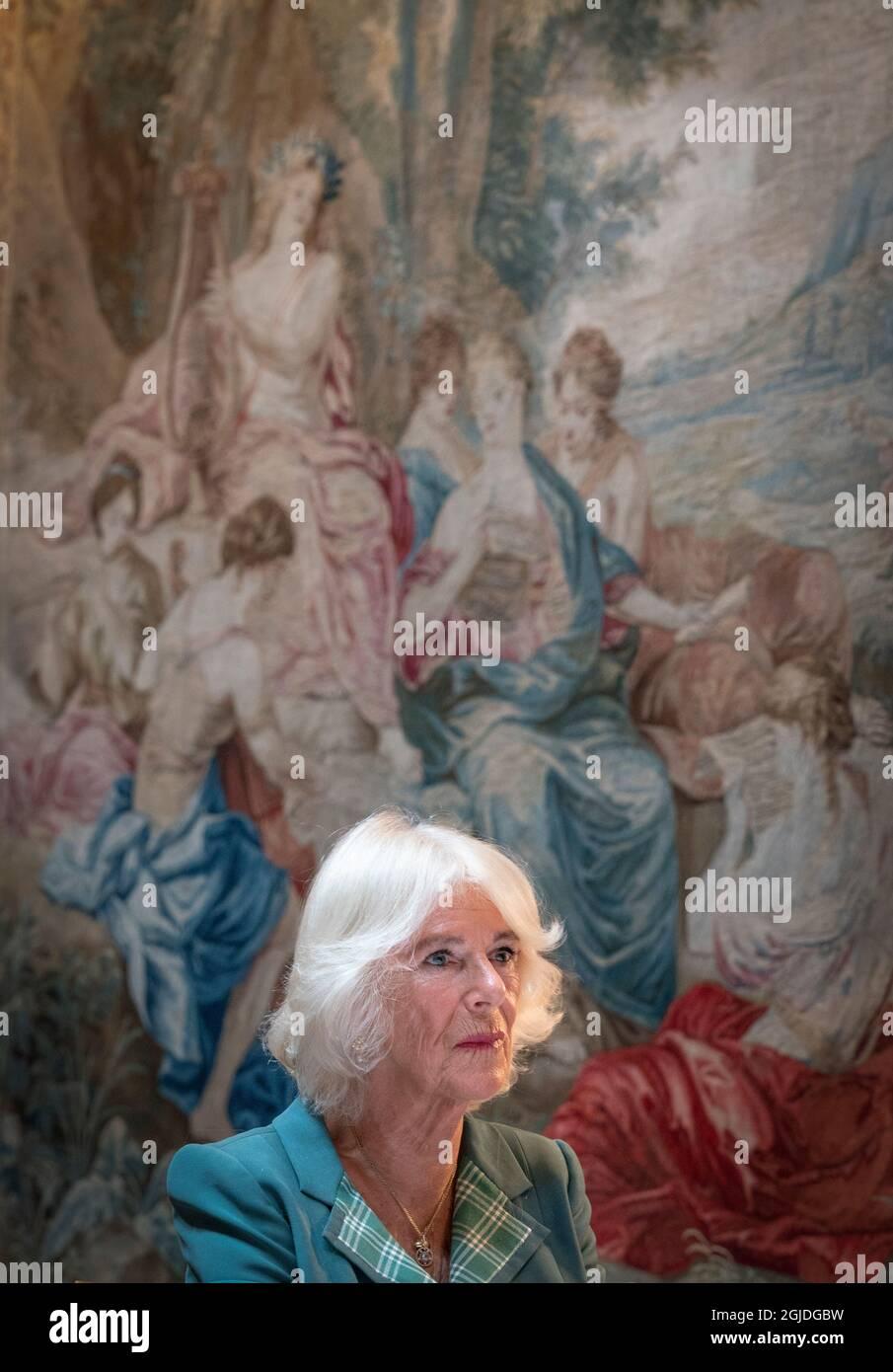 Die Herzogin von Cornwall, die als Herzogin von Rothesay in Schottland bekannt ist, nimmt an einer Mentoring-Sitzung für Frauen im Journalismus und einer Podiumsdiskussion im Dumfries House in Cumnock, Ayrshire, Teil. Bilddatum: Donnerstag, 9. September 2021. Stockfoto