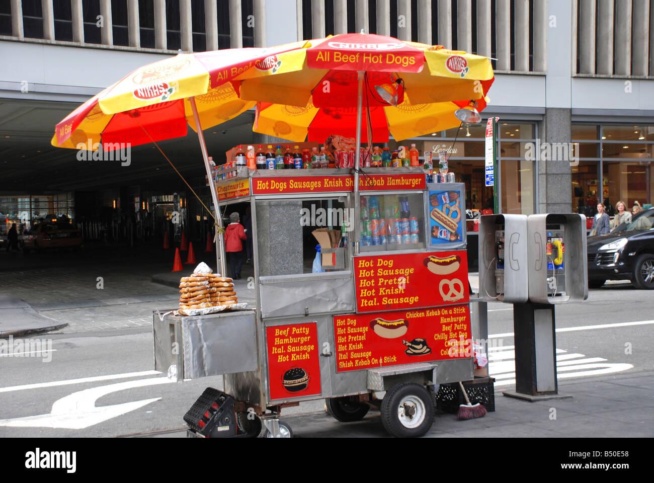 Straßenhändler Wagen für Hot Dogs, Hamburger, Getränke und Brezeln ...