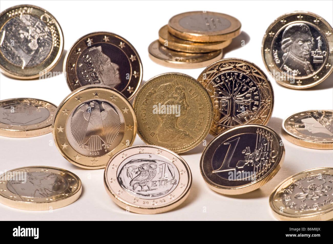Neue Euro Münzen Aus Verschiedenen Ländern Rund Um Die Alte