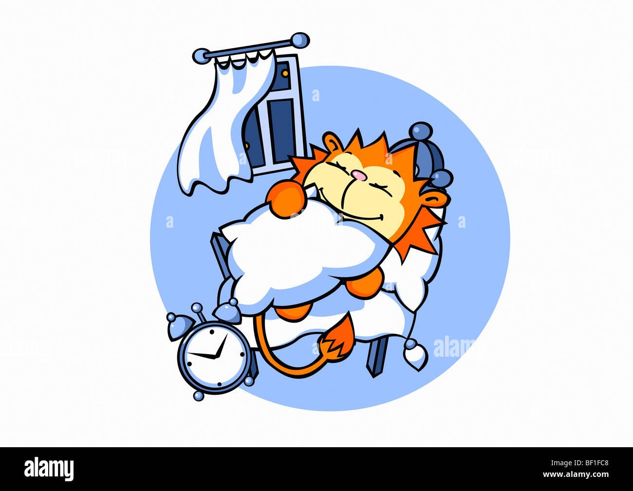 Ein Cartoon Lowe Schlafen Im Bett Stockfoto Bild 26464264 Alamy