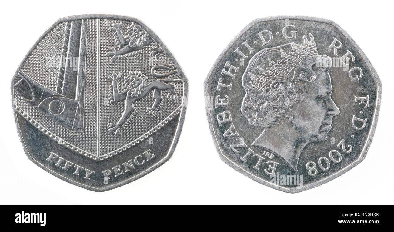 Britische 50 Pence Münze Neues Design 2008 Stockfoto Bild