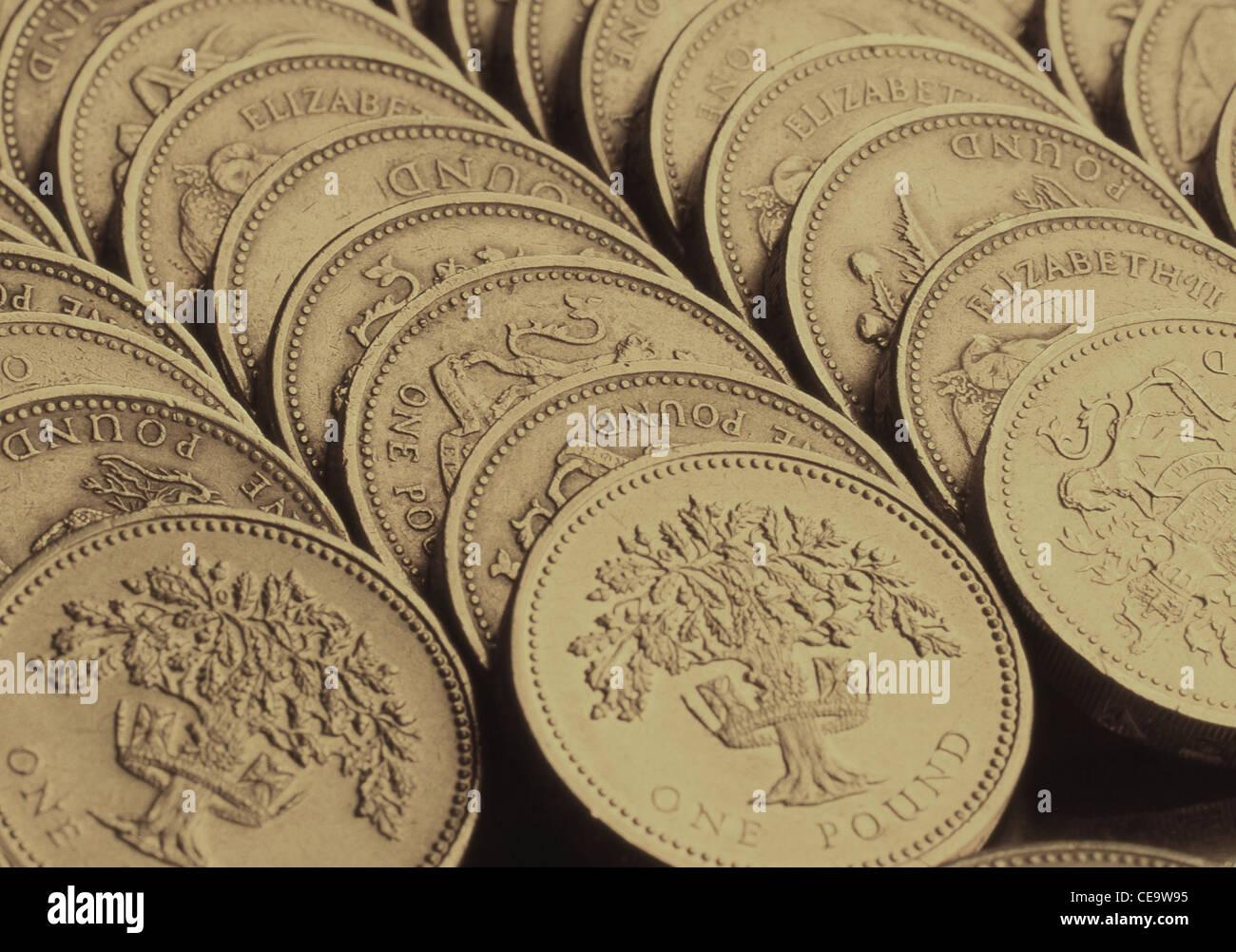 Zeilen Der Britischen Pfund Münzen London England Vereinigtes