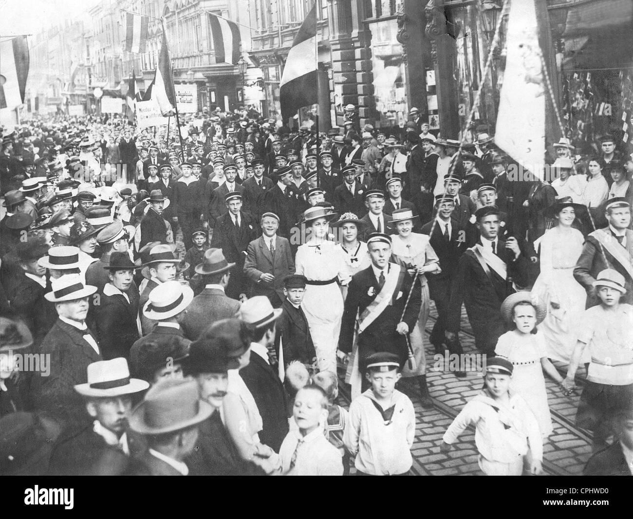 Demonstration Gegen Den Vertrag Von Versailles 1919 Stockfoto Bild