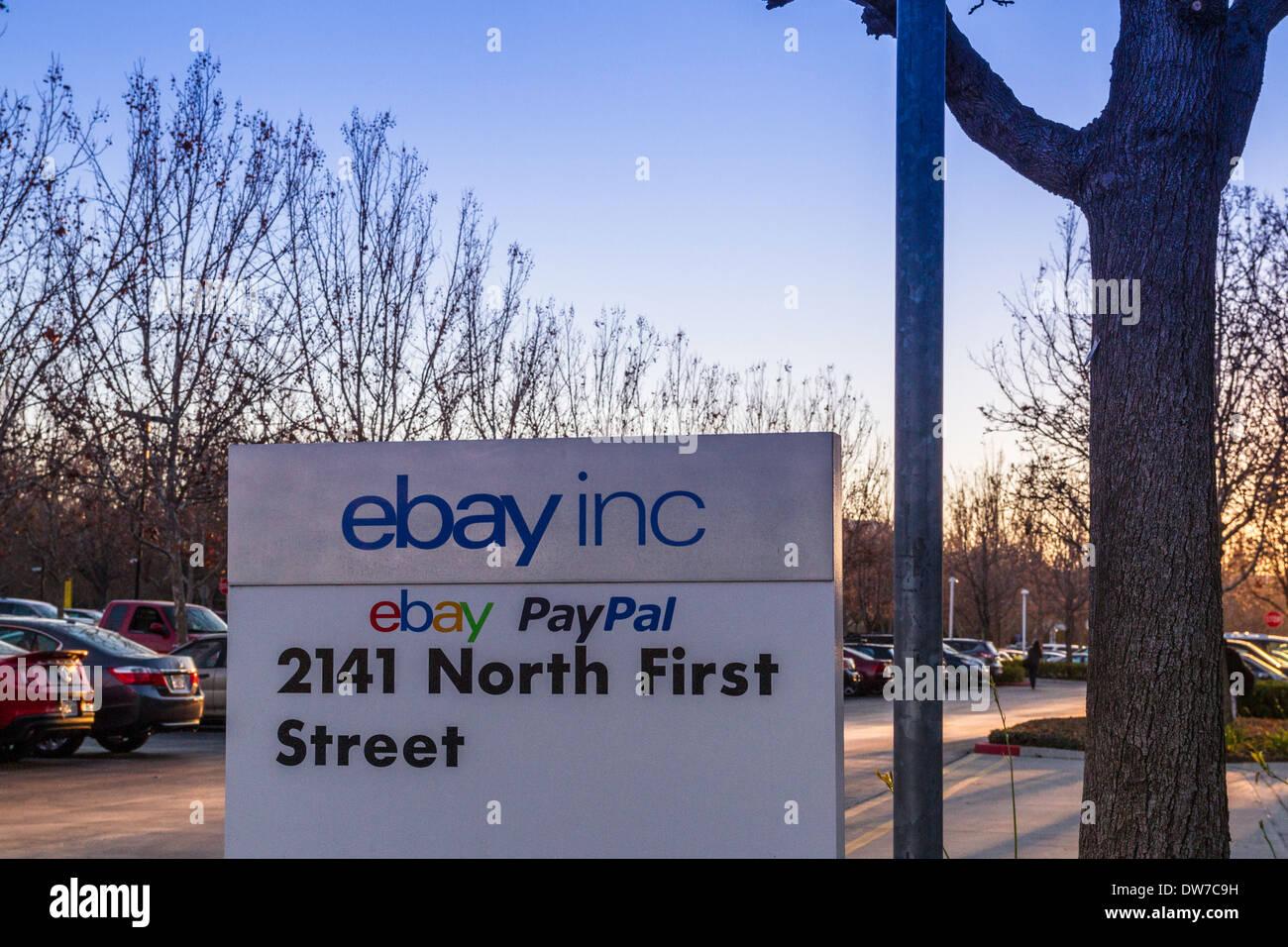 Ebay Paypal Zeichen In San Jose Kalifornien Stockfoto Bild