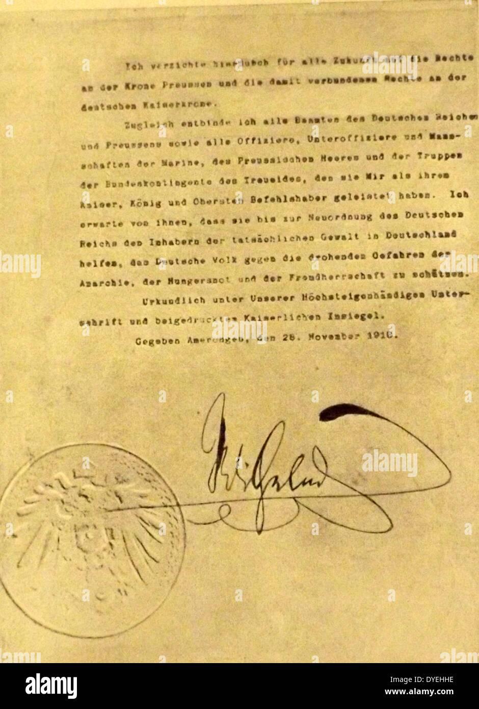 Brief Der Abdankung Von Kaiser Willhelm Ii Von Deutschland