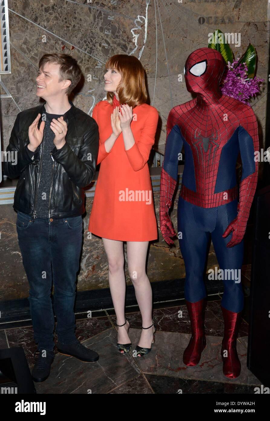 new york, ny, usa. 25. april 2014. dane dehaan, emma stone, spider
