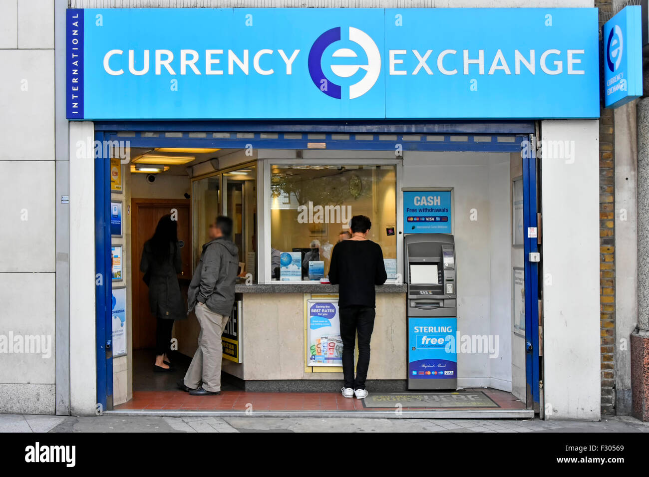 Bureau de change international currency exchange retail stand atm