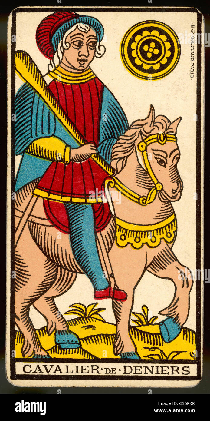 Tarot Karte Cavalier De Deniers Ritter Der Münzen Stockfoto Bild