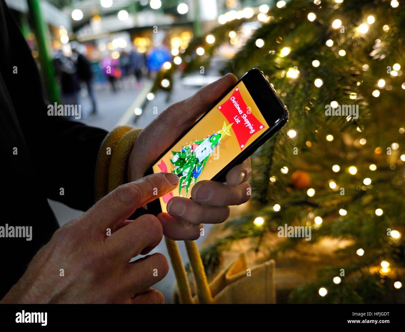 Weihnachten Smartphone einkaufen app Baum leuchten Reifen city ...