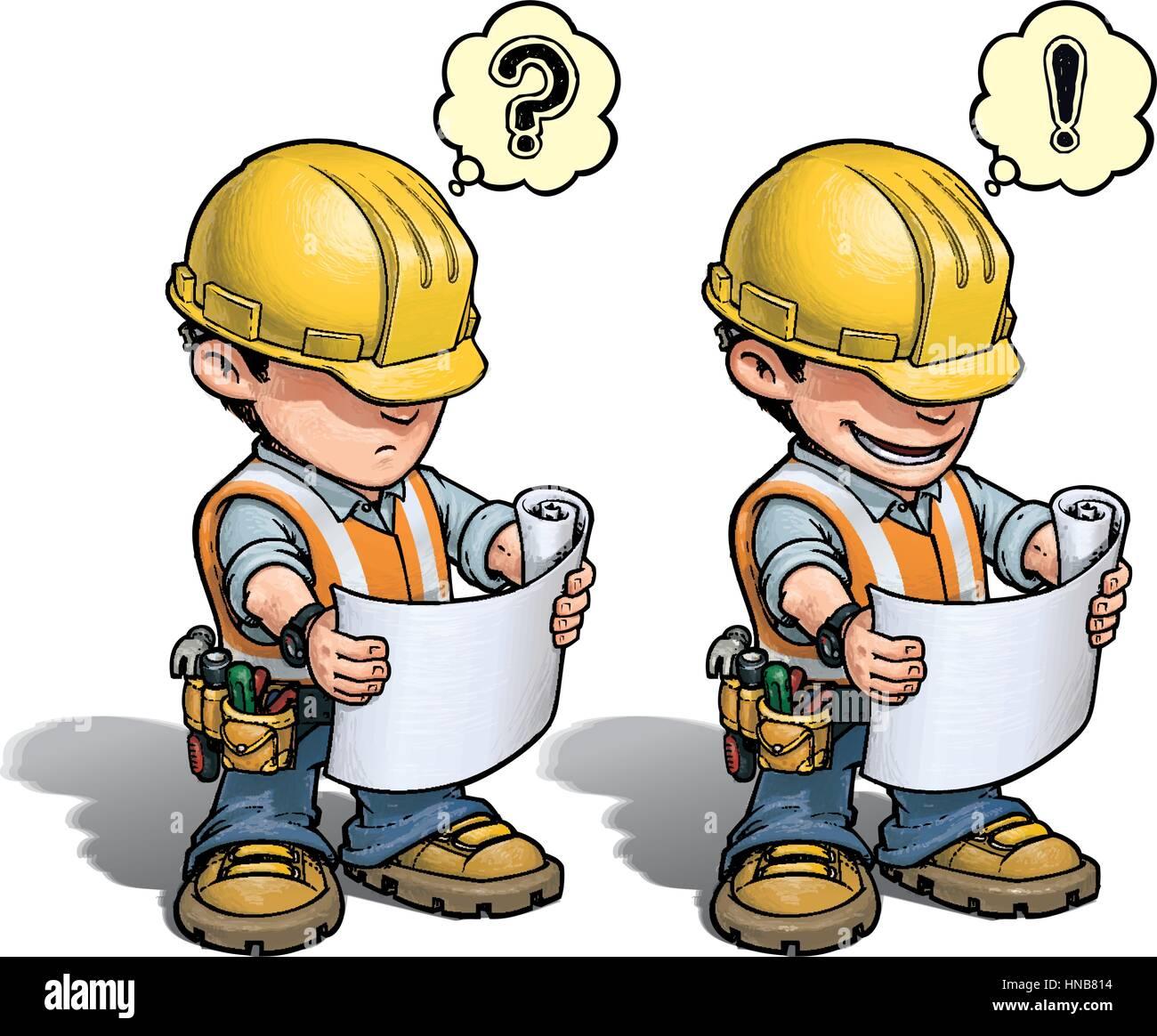 Comic Illustration Eines Bauarbeiters Lesen Eine Blaupause Wetter