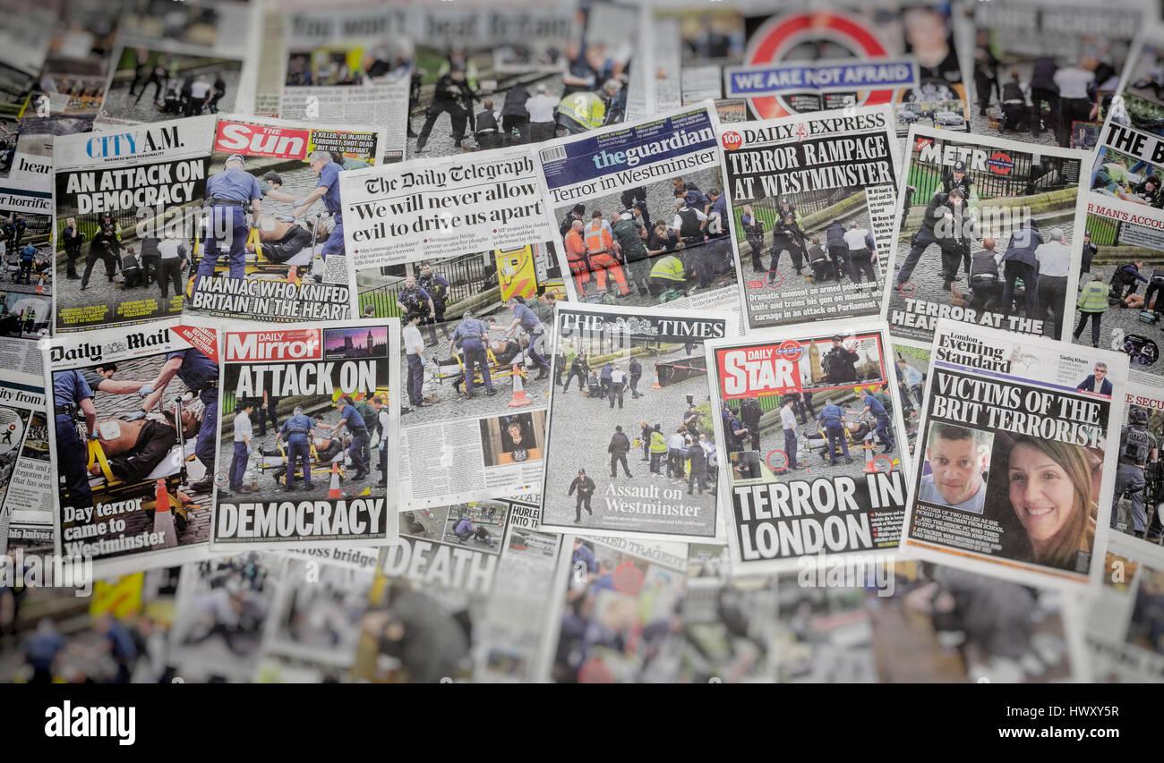 Schlagzeilen Des Tages Nach Dem Terroristischen Anschlag In