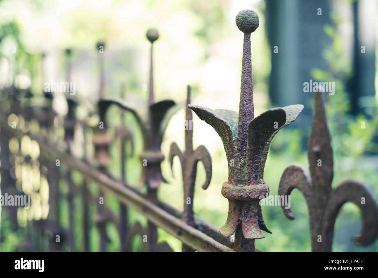 Alte Rostige Gelander Schmiedeeisen Verrosteten Zaun Stockfoto Bild