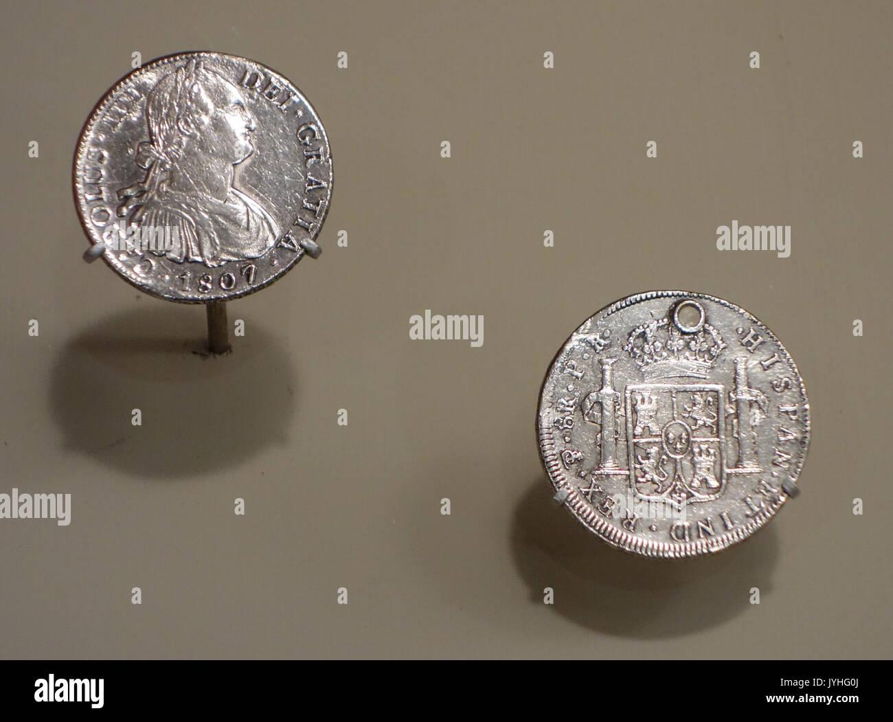 8 Reales Spanische Münzen König Karl Iv Links 1807 Aus Mexico