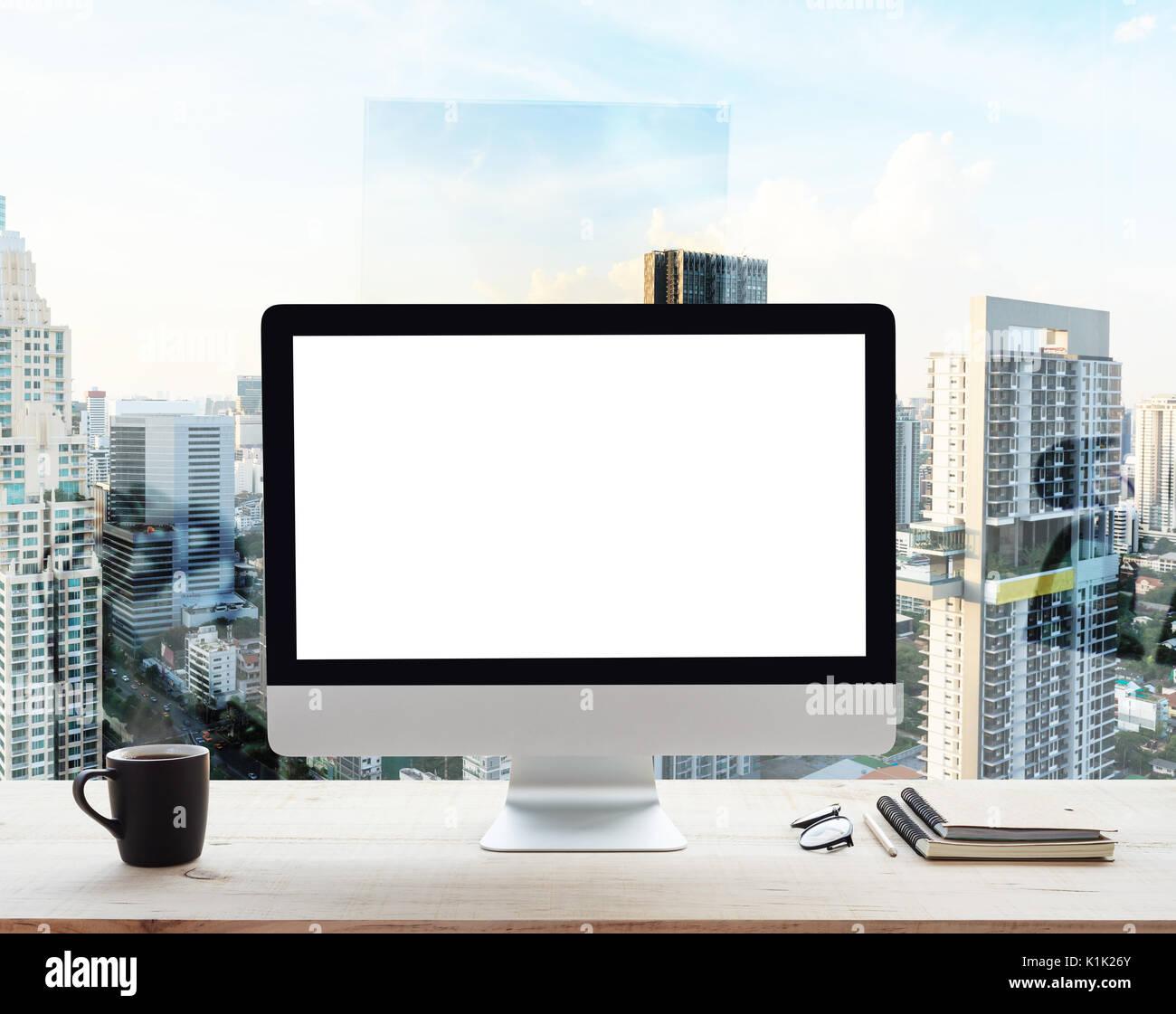 Desktop Computer Weissen Rahmen Auf Arbeitstisch Im Buro Ort Stadt