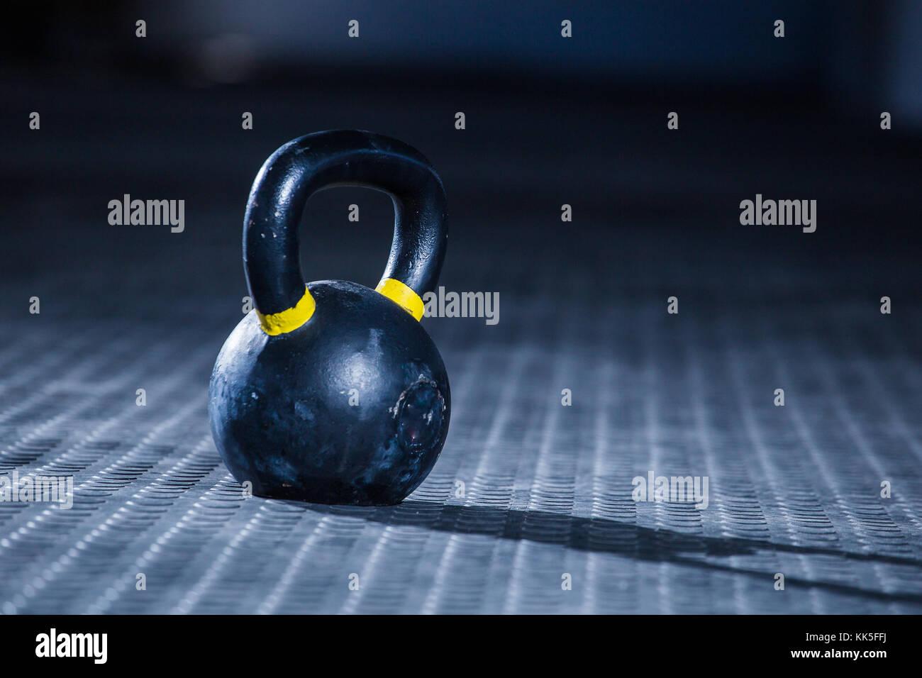 Nahaufnahme Einer Kettlebell Im Dunkeln Auf Dem Boden Fitnessraum