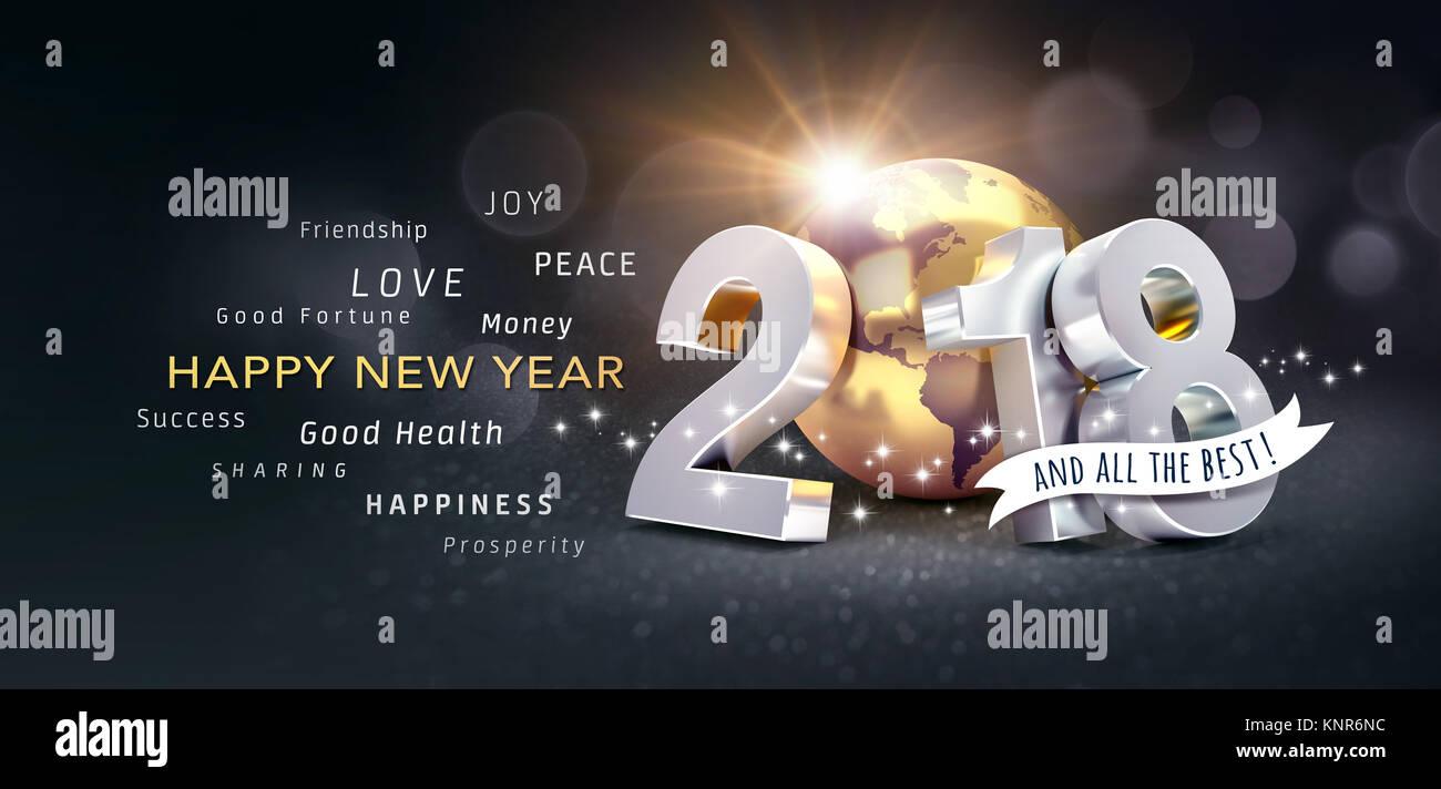 Neues Jahr Datum 2018 komponiert mit einem goldenen Planeten Erde ...