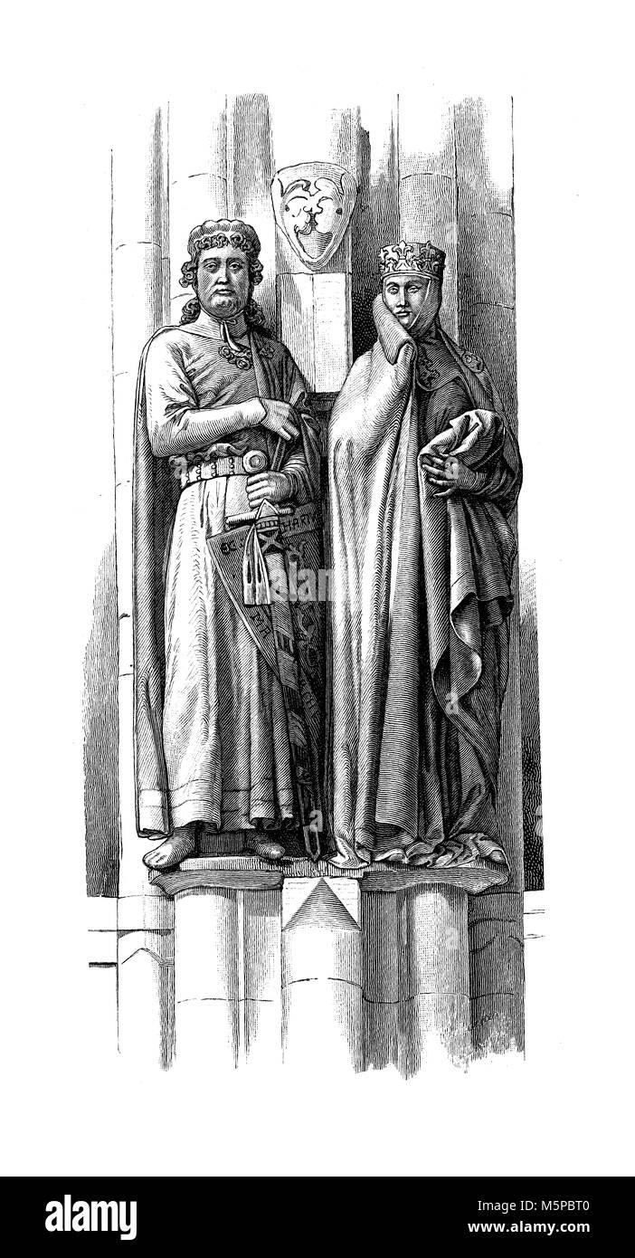 Deutschland Edle Paar In Mittelalterlichen Kostumen Skulptur Im