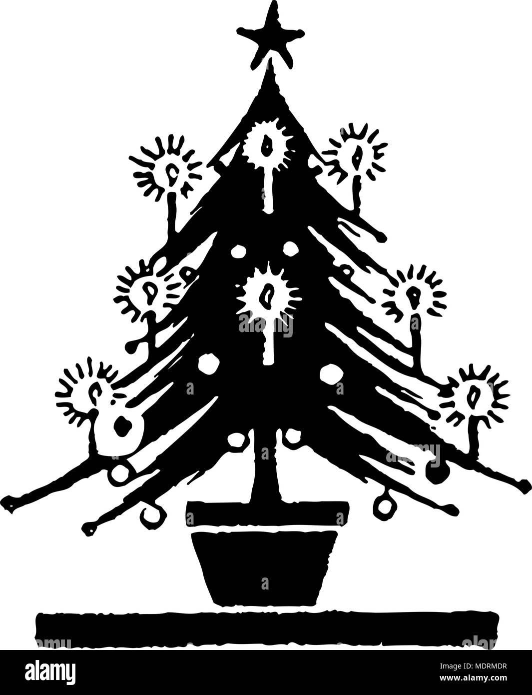 Weihnachtsbaum Retro Clipart Illustration Vektor Abbildung Bild