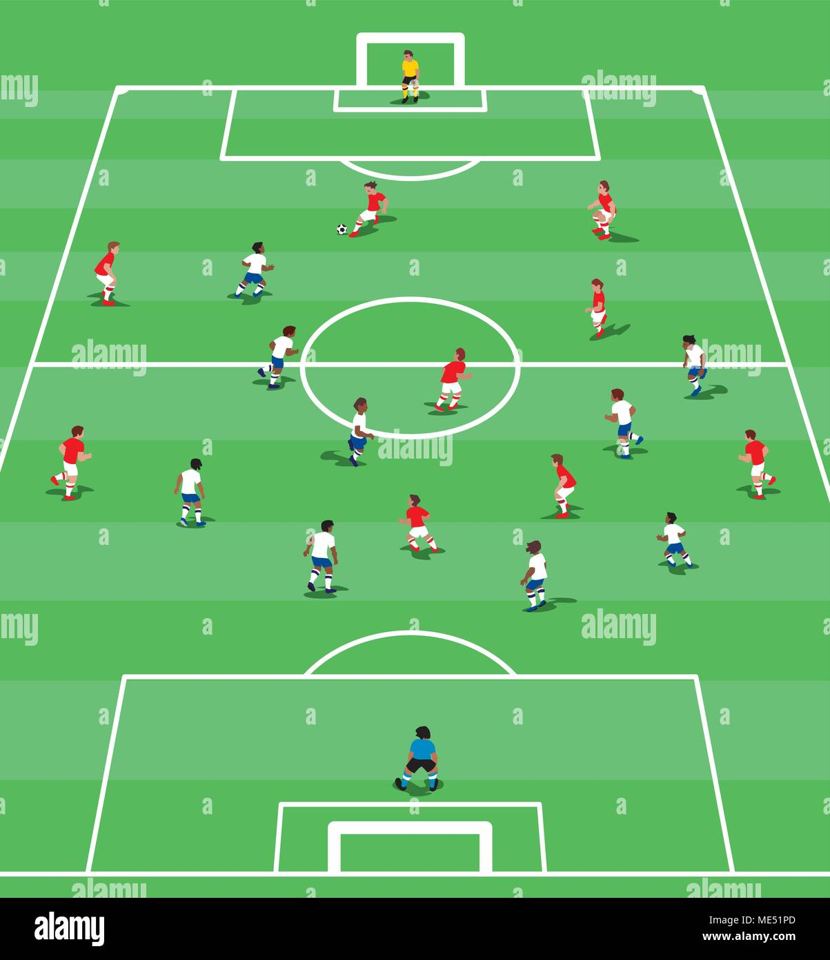 Vector Illustration Von Fußball Positionen In Flacher Ausführung