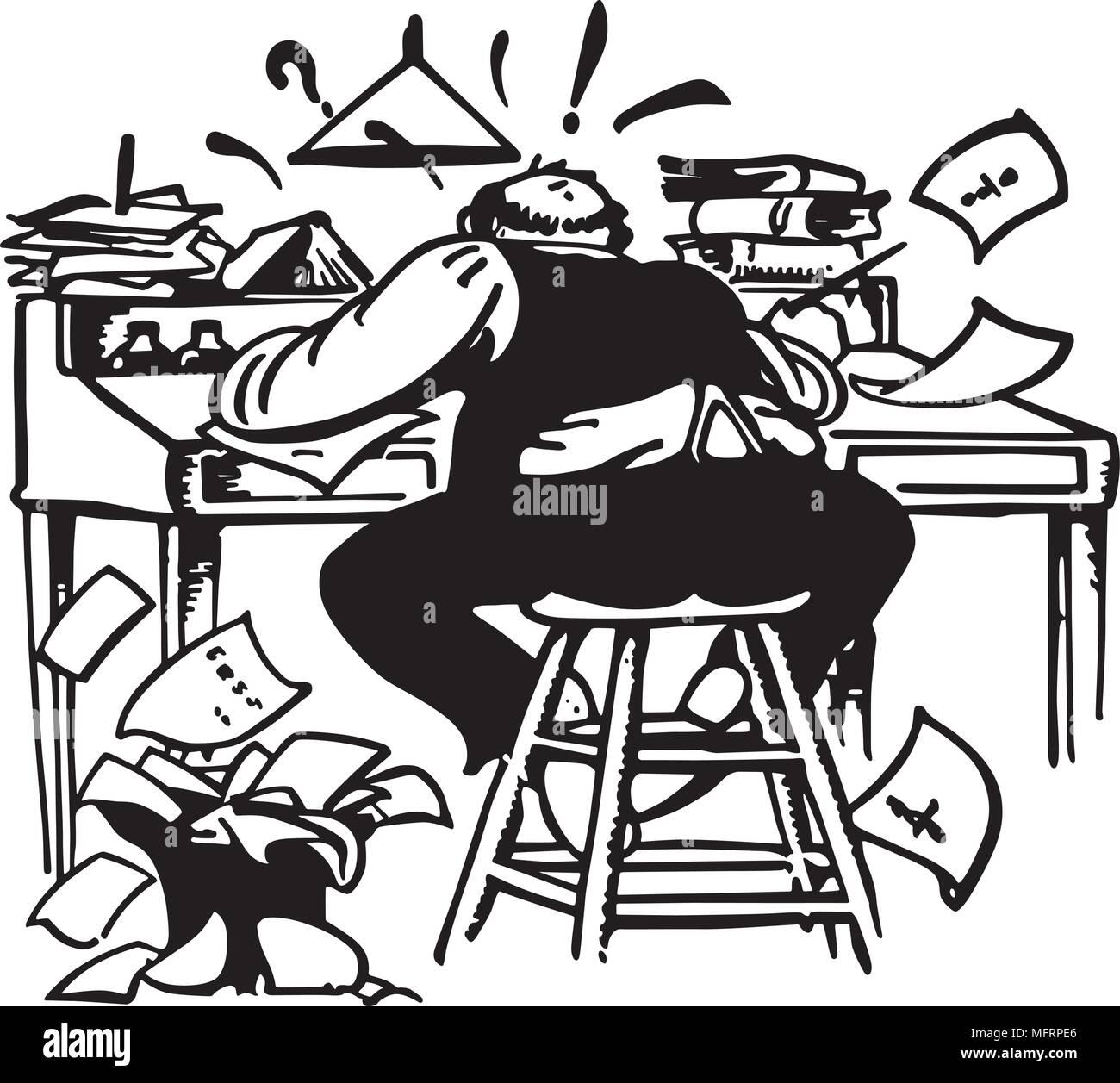 Mann Bei Der Arbeit Wie Verrückt Am Schreibtisch Retro Clipart