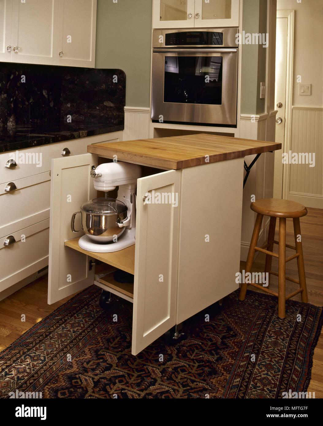 Moderne Kuche Detail Weissen Beweglichen Speichereinheit Interieur
