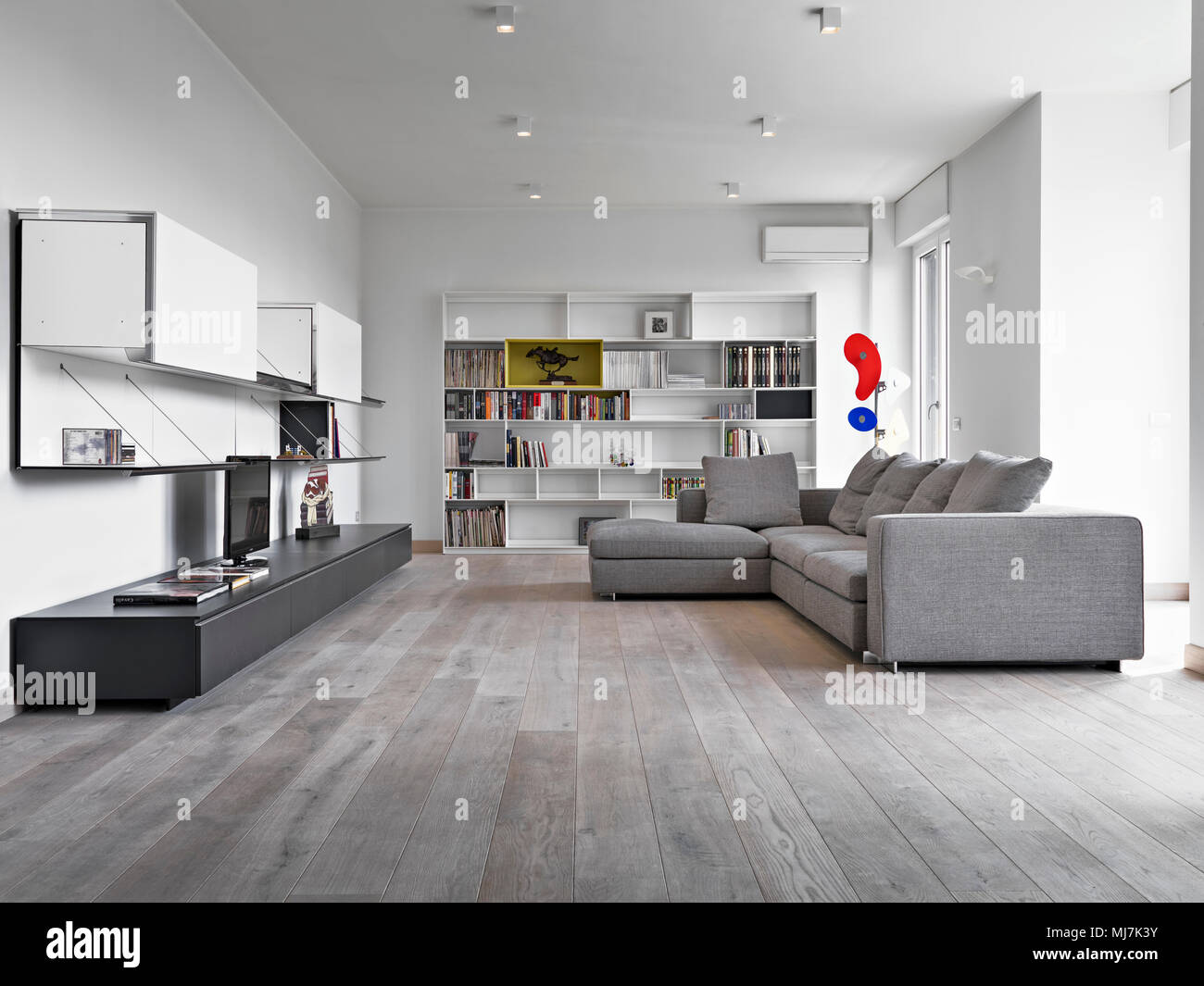 Interieur Schusse Eines Modernen Wohnzimmer Mit Grauer Stoff Sofa