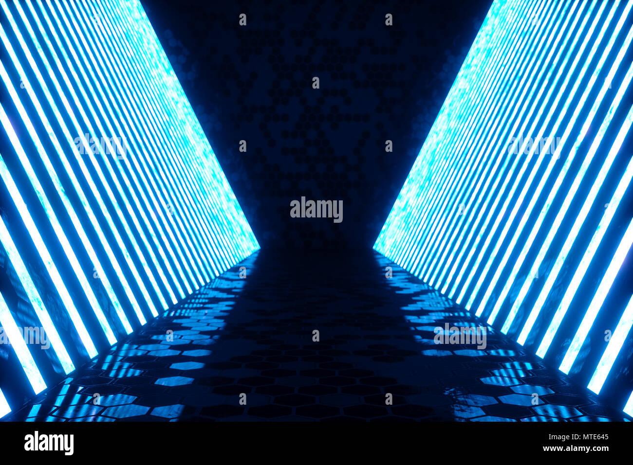 3d rendering abstrakt blau zimmer innenraum mit blauen neonröhren