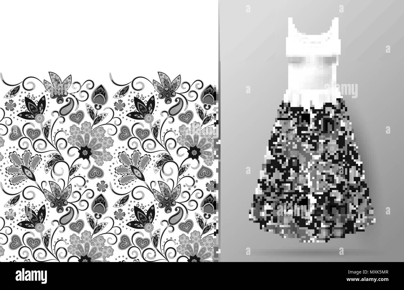 Nahtlose Vertikale Fantasy Blumen Grenze Muster Hand Zeichnen