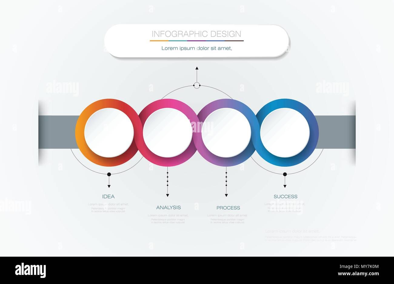 Vektor Infografik 3d Kreis Label Template Design Infograph Mit 4
