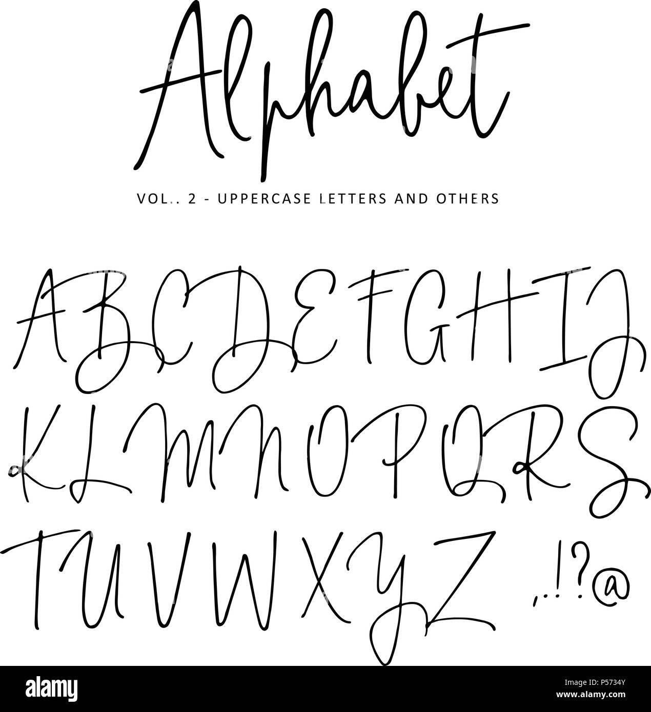 Hand Gezeichnet Vektor Alphabet Moderne Monoline Versicherer