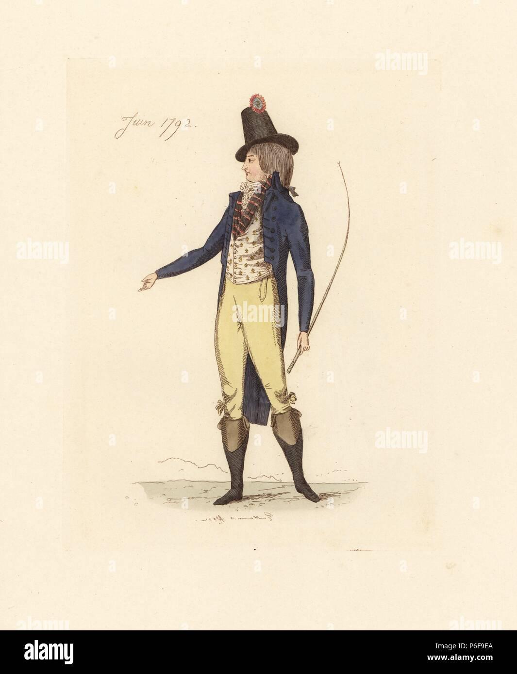 Franzosische Mann Der Mode Der Juni 1792 Er Tragt Einen Hohen Hut