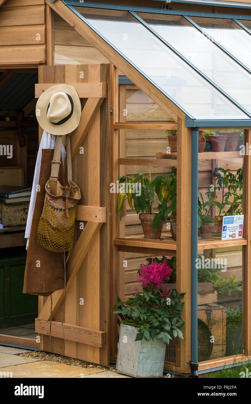 holz gewächshaus & potting shed, auf display und zum verkauf auf