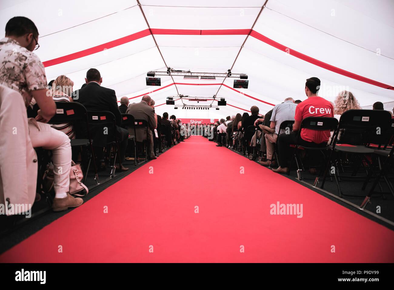 Ein Roter Teppich Der Bis Zum Abschluss Der Buhne Mit Menschen