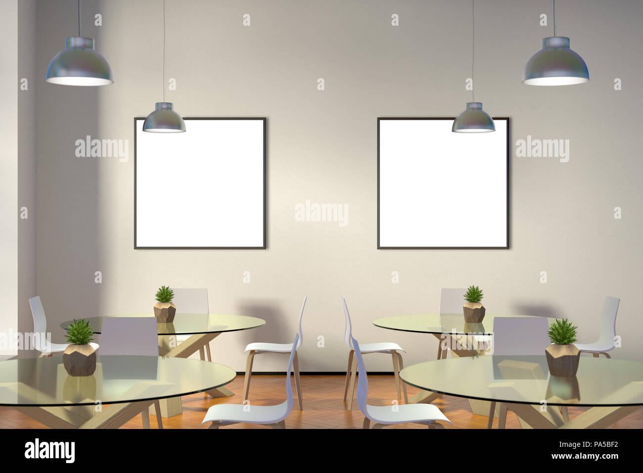 Zwei leere quadrat poster mock up in modernen cafe interieur d