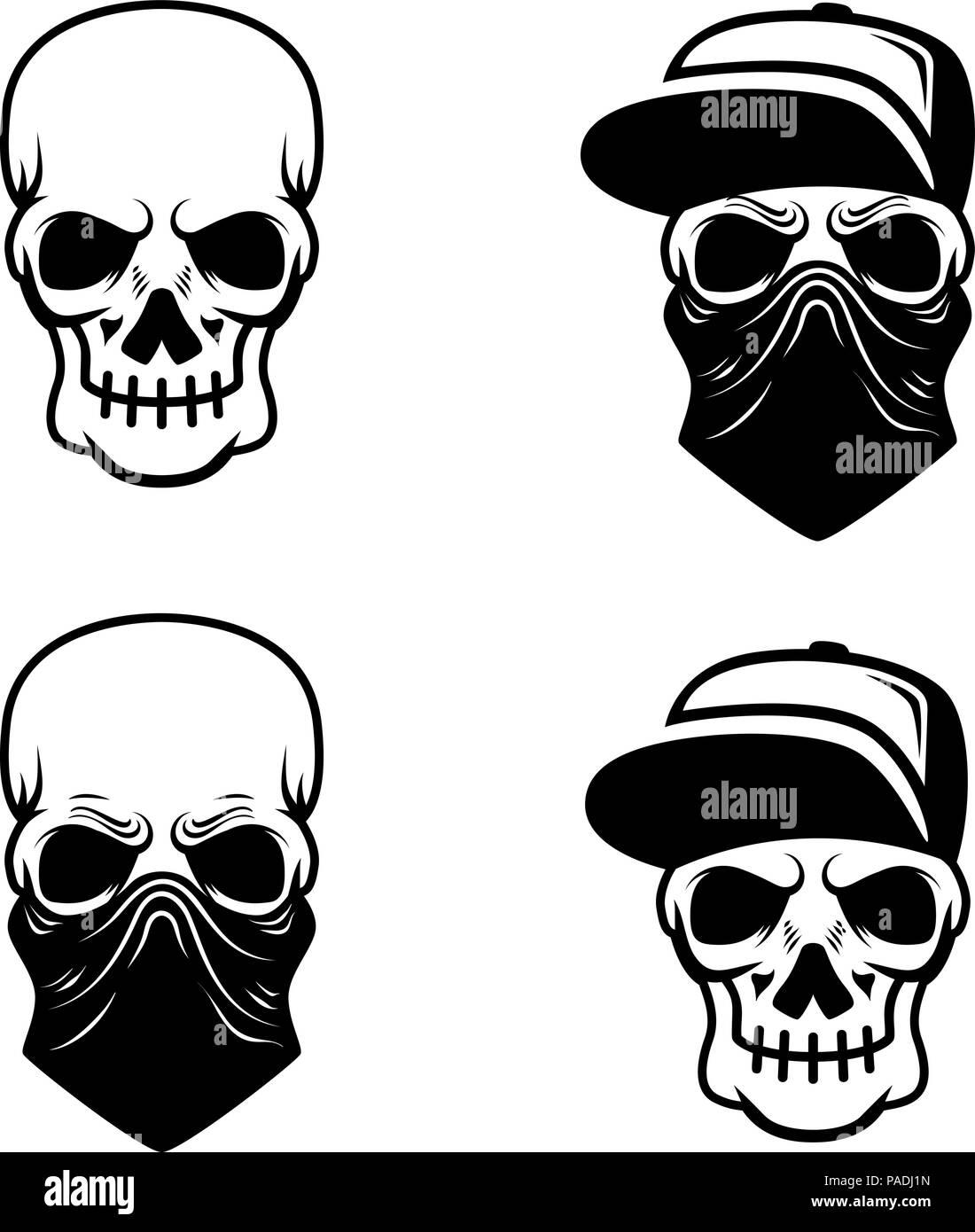 Gangster Shirt Designs   Gangster Schadel Mit Baseballmutze Und Bandana Design Element Fur