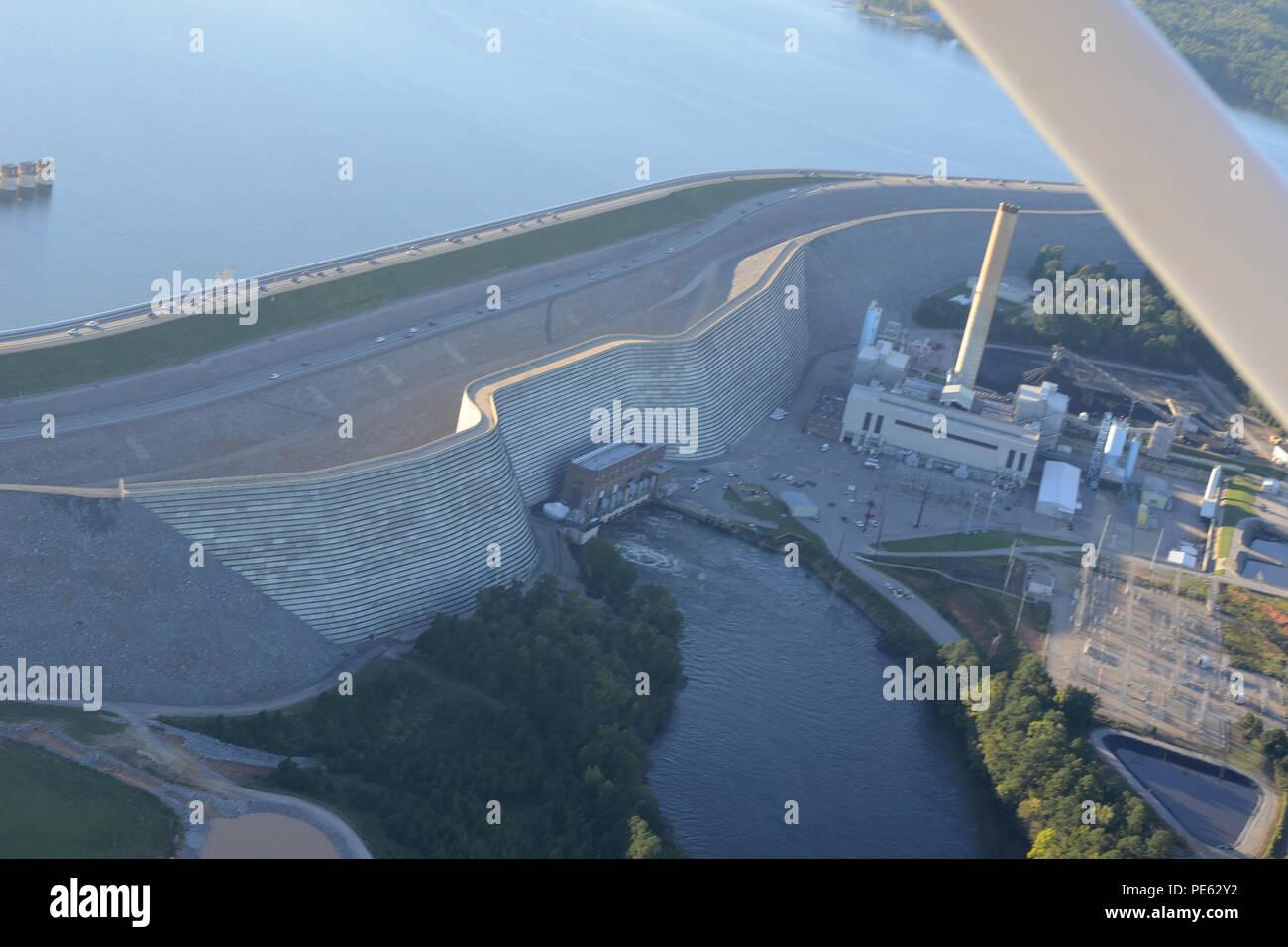 Luftbild Des Lake Murray Damm Aus Einem Civil Air Patrol Flugzeuge