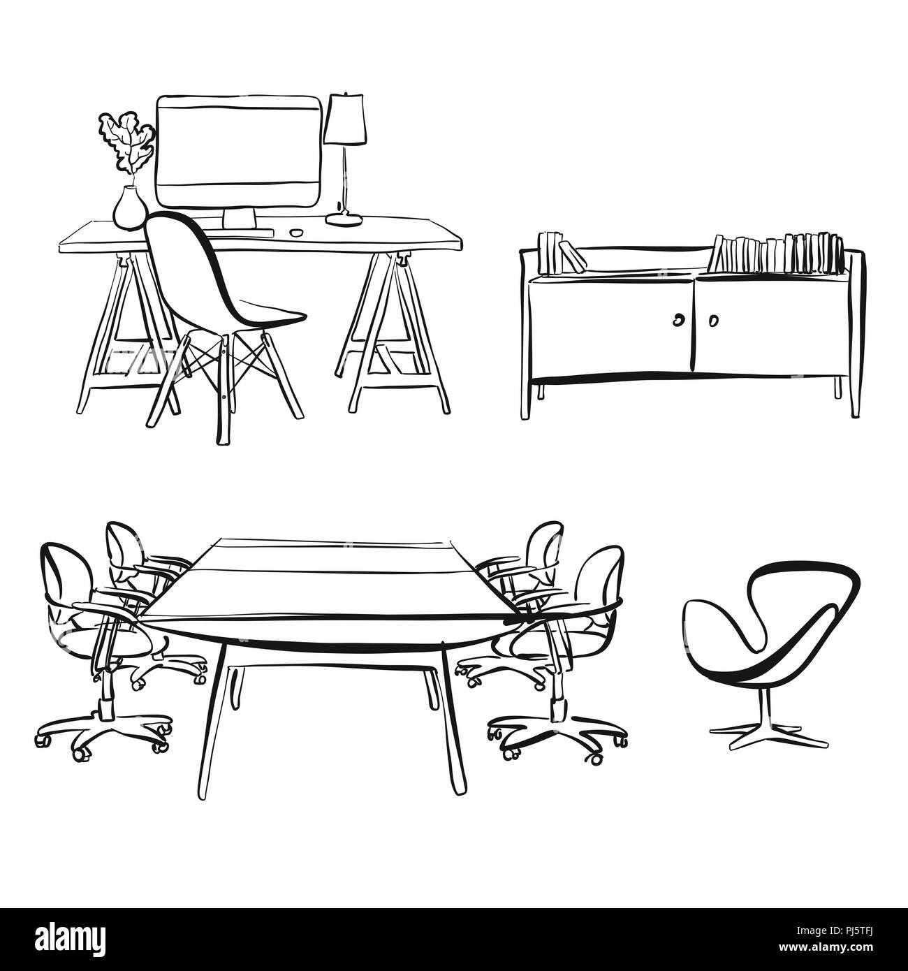 Buro Innere Objekte Zeichnen Handgezeichnete Vektor Skizze