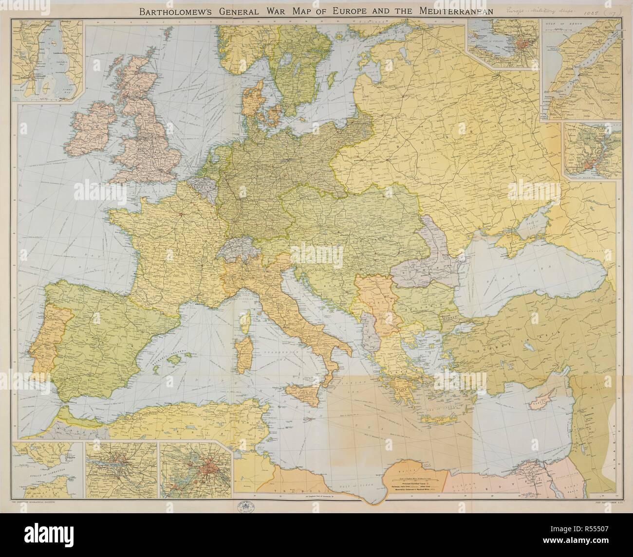 Karte Von Europa 1914.Bartholomew S Allgemeinen Krieg Karte Von Europa Und Dem