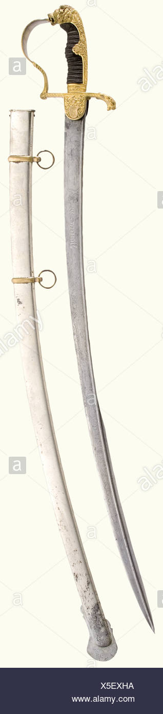 A special version of a lion's head sabre., Curved, unpatterned Damascus, pipeback blade with yelmen, bearing the etched dedication, 'von Löbbecke s./l. von Meske - Hannover 1894' showing remnants of gilding, and 'H. Karguth, Berlin', on the back of the blade. Gilded lion head hilt with red glass eyes, in an especially richly decorated, chiselled version with a Guard's star inlaid on the obverse languet, and the engraved monogram 'L' beneath a count's coronet on the reverse languet. Sharkskin grip cover. Length 101 cm. Nickel-plated scabbard with brass bands, so, Additional-Rights-Clearances-NA Stockbild