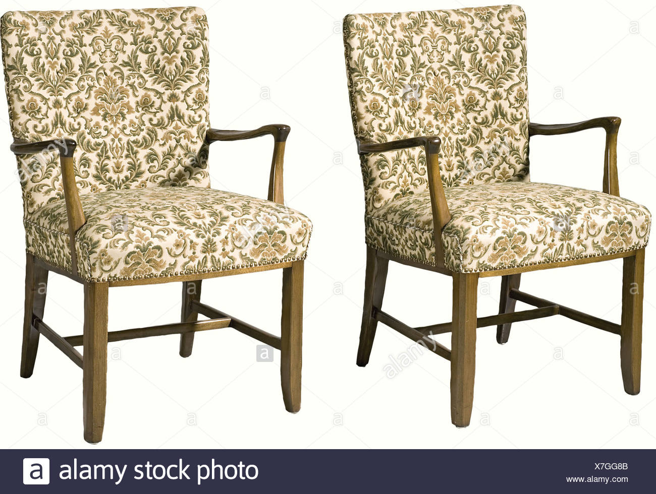 Adolf Hitler - two easy chairs from the 'Reichskanzlei', in Berlin., Made of beech wood in the same colour as the chest of drawers and table - covers replaced. That these chairs were formerly in the 'Reichskanzlei' in Berlin can not be authenticated by other similar chairs, through pictures or from other sources. However, the connection to the 'Reichskanzlei' must be considered likely, as the chairs are of the same provenance as the other pieces of furniture which can definitely be ascribed to this place. historic, historical, 1930s, 1930s, 20th century, NS, Na, Additional-Rights-Clearances-NA Stockbild